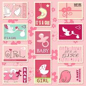 stock photo of moon-flower  - baby girl postage stamps - JPG