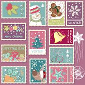 stock photo of ginger-bread  - winter postage set - JPG