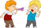 image of prank  - Illustration of a Boy Pulling a Prank on Another Boy - JPG