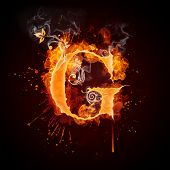 picture of g-spot  - Fire Swirl Letter G Isolated on Black Background - JPG