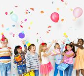 Group of kids celebrate birthday party together poster
