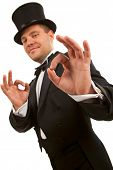 stock photo of top-hat  - Man with top hat making  - JPG