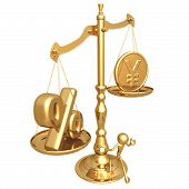 Unbalanced Golden Scale Percentage And Gold Yen Coin poster
