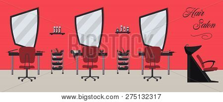 poster of Hair Salon Interior In A Red And Black Color. Beauty Salon. There Are Tables, Chairs, A Bath For Was