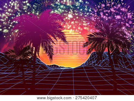 Poster: Vaporwave Landscape With Rocks And