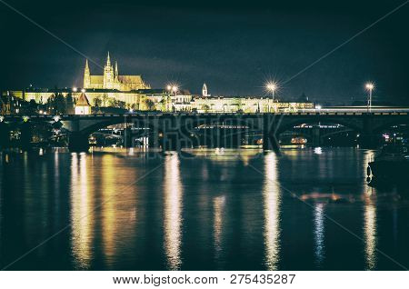 Famous Castle And Vltava River