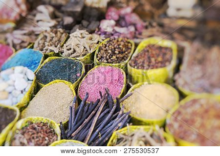Traditional Spices Bazaar With Herbs