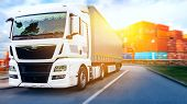 Truck On The Road . Commercial Transport .  Truck Transport Container poster