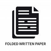 Folded Written Paper Icon Isolated On White Background. Folded Written Paper Icon Simple Sign. Folde poster