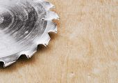 Circular Metal Saw On The Background Polished Plywood. Carpentry Workshop, Work Tools poster