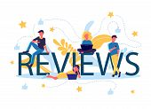 Concept Vector Illustration Of Flat People Sitting On Letters Of Reviews With Laptops, Smartphones,  poster