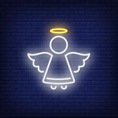 Cute Angel With Halo Neon Sign. Christmas Or Easter Design Element. Night Bright Neon Sign, Colorful poster