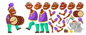 Indian Old Man Vector. Hindu. Asian. Senior Person With Drum, Tutban, Elephant. Elderly People. Aged poster