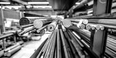 Steel Rod Stock In A Manufacturing Plant poster