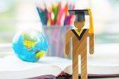 America Education Knowledge Learning Study Abroad International Ideas. People Sign Wood With Graduat poster