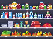 Food Products On Shop Shelf. Supermarket Shopping Shelves, Food Store Showcase And Choice Packed Mea poster