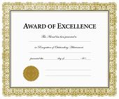 Vector Award of Excellence Certificate. Pieces are separate and easy to edit.