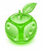 glass apple with leaf as playing die vector illustration