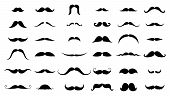 Mustache Collection. Black Silhouette Of The Mustache Set Isolated On White. Vintage Engraving Styli poster