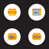 Set Of Development Icons Flat Style Symbols With Website Image, Website Text, Website Slider And Oth poster