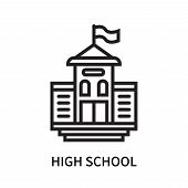 High School Icon Isolated On White Background. High School Icon Simple Sign. High School Icon Trendy poster