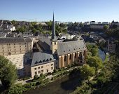 cityscape of Luxembourg with Johanneskirche, Neum?nster Abbey, Alzette river and the Grund quarter