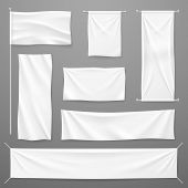 White Textile Advertising Banners. Blank Fabric Cloths Hanging On Rope. Folded Empty Cotton Stretche poster