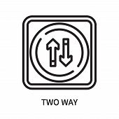 Two Way Icon Isolated On White Background. Two Way Icon Simple Sign. Two Way Icon Trendy And Modern  poster
