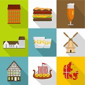 European Hinterland Icons Set. Flat Set Of 9 European Hinterland Icons For Web Isolated On White Bac poster