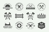 Set Of Vintage Carpentry, Woodwork Labels, Badges, Emblems And Logo. Vector Illustration. Monochrome poster