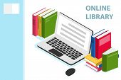 Online Library Isometric Concept. Online Library Isometric Design With Books. Technology And Literat poster