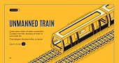 Vector Concept Banner With Unmanned Electric Train On Railway On Yellow Background. Automated Transp poster