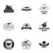 Little Dinosaur Logo Set. Simple Set Of 9 Little Dinosaur Logo For Web Isolated On White Background poster