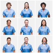Collage of group of professional doctor nurse people over isolated background with a happy and cool  poster