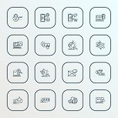 Engine Icons Line Style Set With Bug Fixing, Responsive Design, Search Engine And Other Smartphone E poster