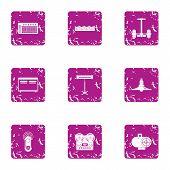 Modern Recreational Icons Set. Grunge Set Of 9 Modern Recreational Icons For Web Isolated On White B poster