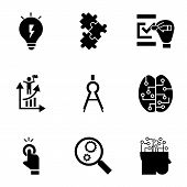 Find Solution Icon Set. Simple Set Of 9 Find Solution Icons For Web Design Isolated On White Backgro poster