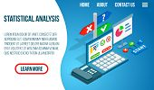 Statistical Analysis Concept Banner. Isometric Banner Of Statistical Analysis Concept For Web, Giftc poster