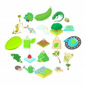 Hiking Trails Icons Set. Cartoon Set Of 25 Hiking Trails Icons For Web Isolated On White Background poster