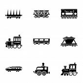 Steam Locomotive Icons Set. Simple Set Of 9 Steam Locomotive Icons For Web Isolated On White Backgro poster