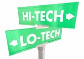 Hi-Tech Vs Lo Technology Two 2 Way Street Signs 3d Illustration poster