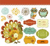 stock photo of give thanks  - Happy Thanksgiving beautiful clip art - JPG