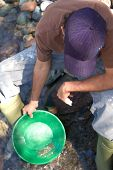picture of gold panning  - Young man gold panning at the river - JPG