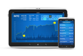 stock photo of nyse  - Stock market data and mobile banking interface on modern digital tablet with mobile smart phone - JPG
