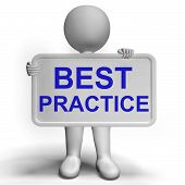 stock photo of benchmarking  - Best Practice Sign Shows Most Efficient Procedures - JPG