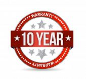Ten Year Warranty Seal Illustration Design