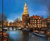 stock photo of houseboats  - An oil painting on canvas of a peaceful panoramic evening view of Montelbaans Tower and the city lights reflecting in the canals of Amsterdam Netherlands - JPG