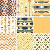 stock photo of aztec  - Seamless geometric pattern in aztec style - JPG