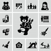 stock photo of playground school  - Preschool icons - JPG