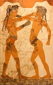Fresco Of Boxing Boys In Greece